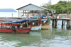 Harbor at Sihanoukville in Cambodia royalty free stock photography