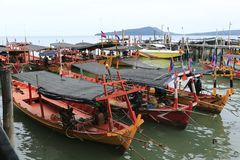 Harbor at Sihanoukville in Cambodia royalty free stock photos