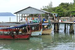 Harbor at Sihanoukville in Cambodia stock photo