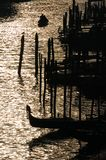 Harbor silhouette. Silhouette from Ponte di Rialto in Venice at sunset Royalty Free Stock Photos