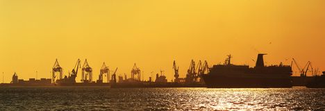 Harbor silhouette Stock Images