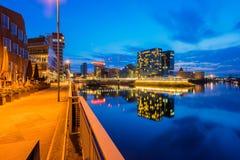Harbor and Skyline of Düsseldorf Germany at Night stock images