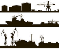 Harbor skyline silhouette Stock Image