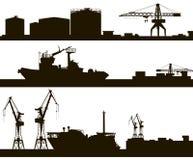 Harbor skyline silhouette royalty free illustration