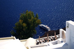 Harbor. A small harbor in the afternoon in oia Royalty Free Stock Photography