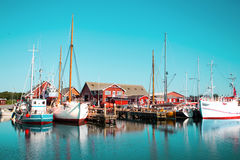 The harbor in a small Swedish town, Sweden Royalty Free Stock Photography