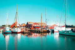 The harbor in a small Swedish town, Sweden Royalty Free Stock Photos