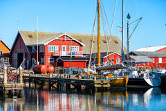 The harbor in a small Swedish town, Sweden Royalty Free Stock Images