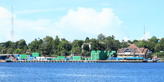 Harbor in Sorong. View on big harbor with loads in Sorong (Papua Barat, Indonesia Stock Photography