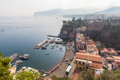 Harbor in Sorrento. View of the harbor in Sorrento in the morning, on the Amalfi coast in Italy Royalty Free Stock Photos