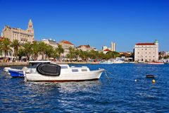 Harbor of Split, Croatia with boats and Diocletian`s palace. Harbor front of Split, Croatia with boats and view of Diocletian`s palace Royalty Free Stock Photography