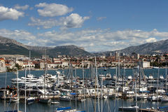 Harbor in Split under the cloudy sky Stock Photography