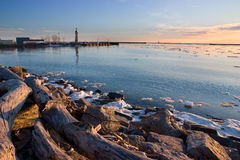 Harbor with Spring Ice Royalty Free Stock Photo