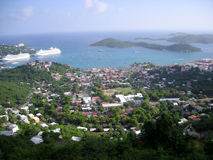 Harbor at St. Thomas Island. Cruise ships in the harbor of St. Thomas Island (Virgin Island, USA Royalty Free Stock Photos