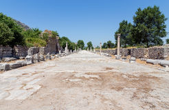 Harbor street in ancient Ephesus, Turkey. The Harbor street or Arcadian Avenue was the first thing visitors who came to Ephesus from the harbor saw. This street Stock Image
