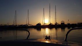Harbor sunrise. Sea boat summer sunrise royalty free stock photography
