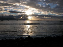 Harbor Sunset. Maui Hawaii royalty free stock photography