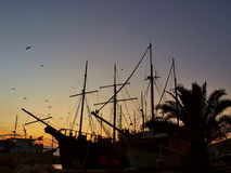 Harbor at sunset Stock Photos