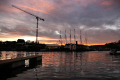 Harbor sunset in Bristol Royalty Free Stock Image