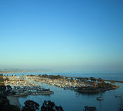Harbor Sunset, Dana Point California. Sunset on the sailboats and yachts anchored at Dana Point Harbor, in Orange County, southern California, a tourist royalty free stock photo