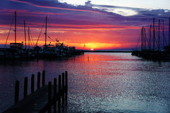 Harbor at sunset Royalty Free Stock Image