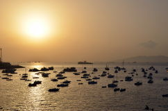 Harbor at sunset in Mumbai Royalty Free Stock Photos