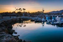 The harbor at sunset, in Santa Barbara, California. Royalty Free Stock Photography