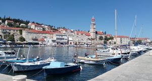 Harbor of Sutivan, in front of the church Sveti Ivan Royalty Free Stock Images