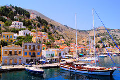 Harbor at Symi, Greece. Colorful harbor district of the town of Symi, Greece Stock Photography