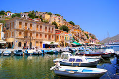 Harbor at Symi, Greece Stock Photos