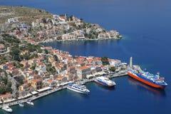 The harbor of Symi, Greece Royalty Free Stock Photo