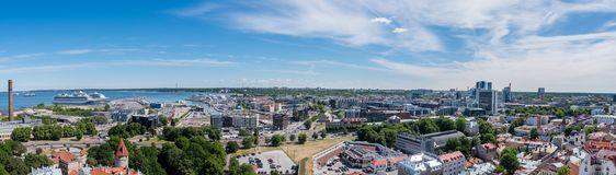 Harbor of Tallinn and the financial center. A panorama with the gulf of Finland, the harbor of Tallinn and the financial center on a summer day Stock Image