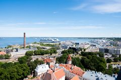 Harbor of Tallinn on sunny summer day. The gulf of Finland and the harbor of Tallinn on a summer day Royalty Free Stock Photography
