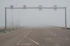 Harbor terminal shrouded in heavy fog Stock Photos