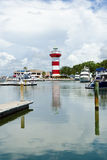 Harbor Town. Lighthouse and marina. Hilton Head Island, SC Royalty Free Stock Photography