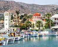 Harbor town of Elounda on the island of Crete. Greece stock photo
