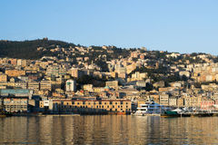 The harbor in the town of Genova, Italy Royalty Free Stock Photo
