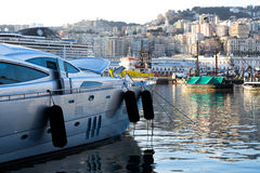 The harbor in the town of Genova, Italy Royalty Free Stock Photos