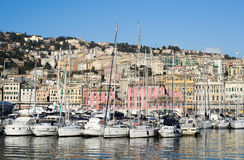 The harbor in the town of Genova, Italy Stock Image