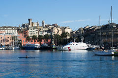 The harbor in the town of Genova, Italy Royalty Free Stock Photography