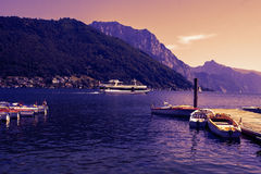 Harbor of Traunsee lake by Gmunden, Austria by sunset at evening Stock Photography
