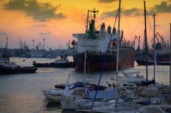 Harbor at twilight Stock Photo