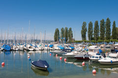 Harbor of Unteruhldingen at Lake Constance Stock Image