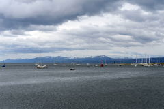 In the Harbor of Ushuaia - the southernmost city of the Earth. Royalty Free Stock Photos