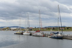 In the Harbor of Ushuaia - the southernmost city of the Earth. Royalty Free Stock Photo