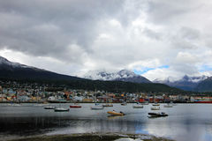 Harbor of Ushuaia, Tierra del Fuego, Argentina. Harbor of Ushuaia, southermost city in the world and the capital of Tierra del Fuego, Argentina Royalty Free Stock Image