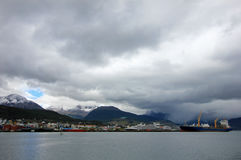 Harbor of Ushuaia, Tierra del Fuego, Argentina. Harbor of Ushuaia, southermost city in the world and the capital of Tierra del Fuego, Argentina Stock Photography