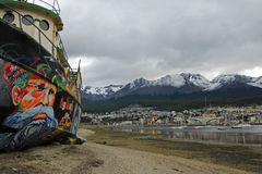 Harbor of Ushuaia, Tierra del Fuego, Argentina. Harbor of Ushuaia, southermost city in the world and the capital of Tierra del Fuego, Argentina Stock Image