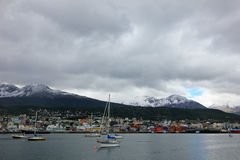 Harbor of Ushuaia, Tierra del Fuego, Argentina. Harbor of Ushuaia, southermost city in the world and the capital of Tierra del Fuego, Argentina Royalty Free Stock Images