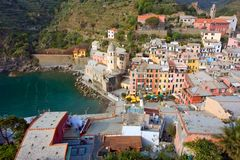 Harbor in vernazza. Little harbor with boat in Vernazza - Cinque Terre - Italy Royalty Free Stock Photography